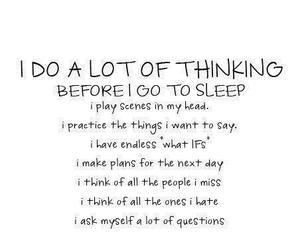 girl, sleep, and thinking image