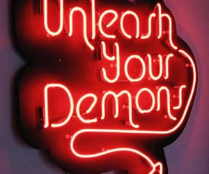 neon, red, and demon image