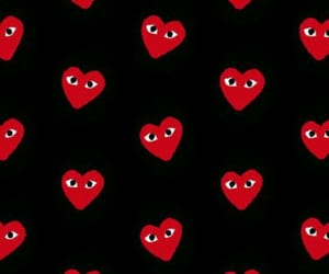 black, heart, and red image