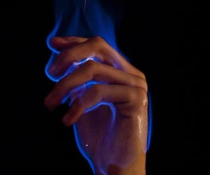 fire, blue, and hand image
