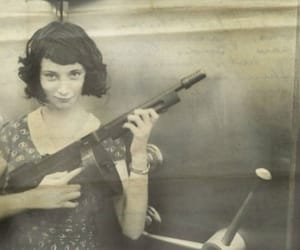 girl, gun, and vintage image