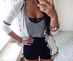 cardigan, fashion, and grey shirt image