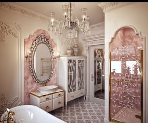 bathroom, room decor, and pink image