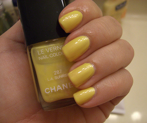 chanel, nails, and yellow image