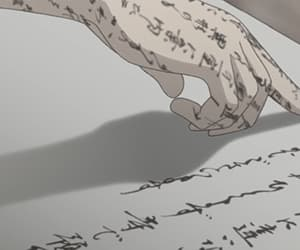 anime, hand, and Letter image