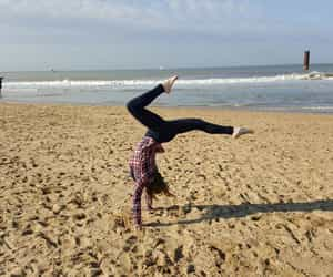 beach, handstand, and splits image