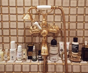gold, bathroom, and beauty image