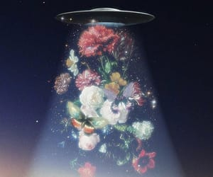 flowers, alien, and ufo image