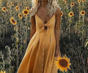 yellow, sunflower, and dress image