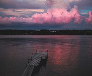 cloud, pink, and sea image