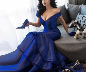 mermaid prom dress, off shoulder prom dress, and royal blue prom dress image