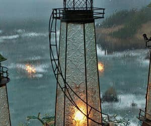 evening, rain, and lamp image