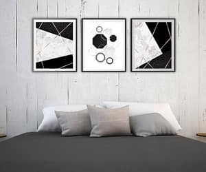 bedroom decor, black white, and etsy image