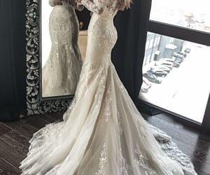 dress, wedding, and long image