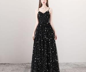 black dress, girl, and prom dress image