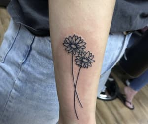 arm tattoo, daisies, and flower image