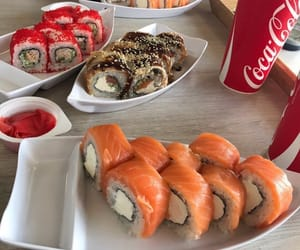 sushi, coca-cola, and food image