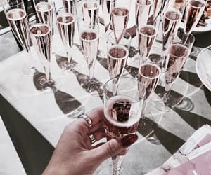 drink, rose gold, and champagne image
