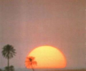 beach, orange, and sun image