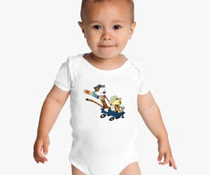 calvin and hobbes, baby onesies, and wagon doctor who image