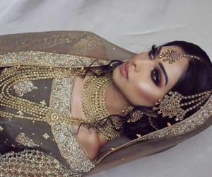 jewelry, makeup, and wedding dress image