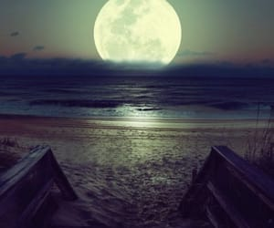 moon, beach, and night image