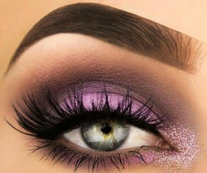 blue eyes, lashes, and make up image
