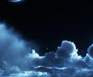 moon, clouds, and night image
