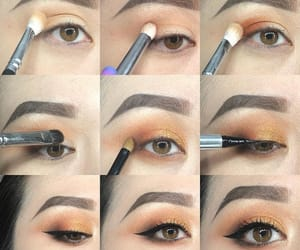 makeup, maquillaje, and ojos marrones image