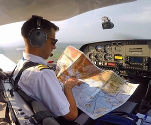 map, pilot, and plane image