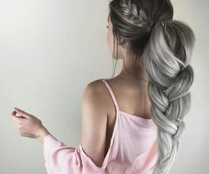pink, hairstyle, and grey shade image