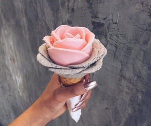 ice cream, flowers, and food image