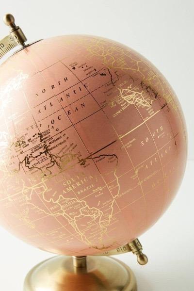 globe, world, and rose gold image