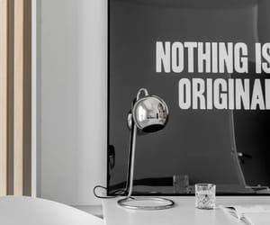 desk, interior, and lamp image