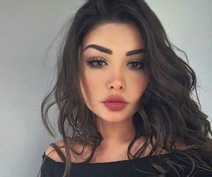 girl, makeup, and brunette image