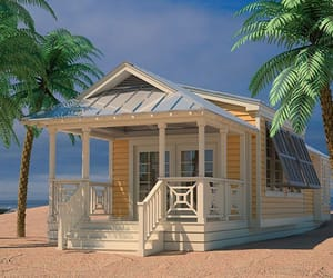 beach, ocean, and cottage image