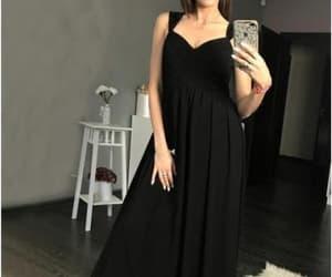 black dress, prom dress, and evening dress image