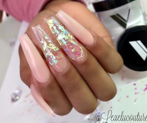gold, light pink, and nails image