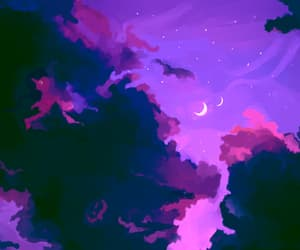art, purple, and moon image