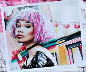 Chanel Iman, pink hair, and watercolor portrait image