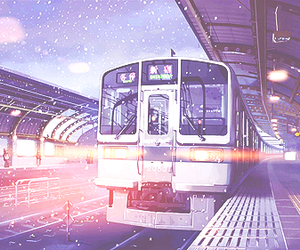 anime, train, and snow image