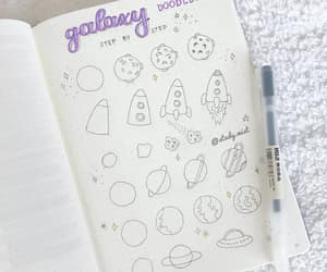 doodles, galaxy, and Muji image