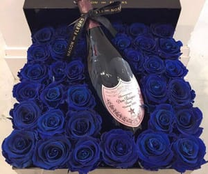 blue, champagne, and flowers image