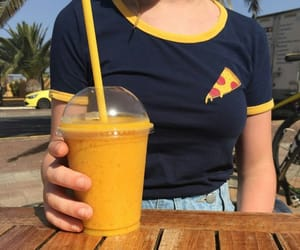yellow, pizza, and drink image