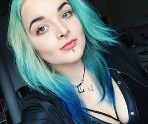 blue hair, boobs, and eyebrows image