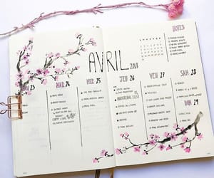 flowers, pink, and planner image