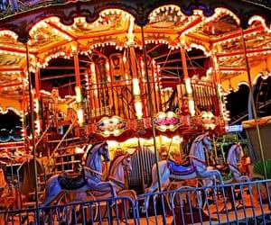 amusement park, boardwalk, and carousel image