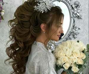 hair, makeup, and wedding image