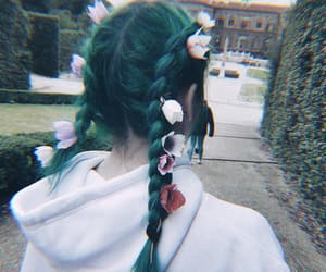 aesthetic, braids, and flowers image