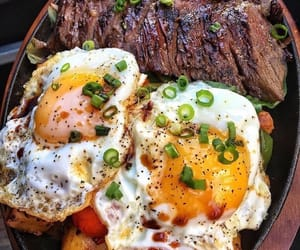 food, eggs, and meat image